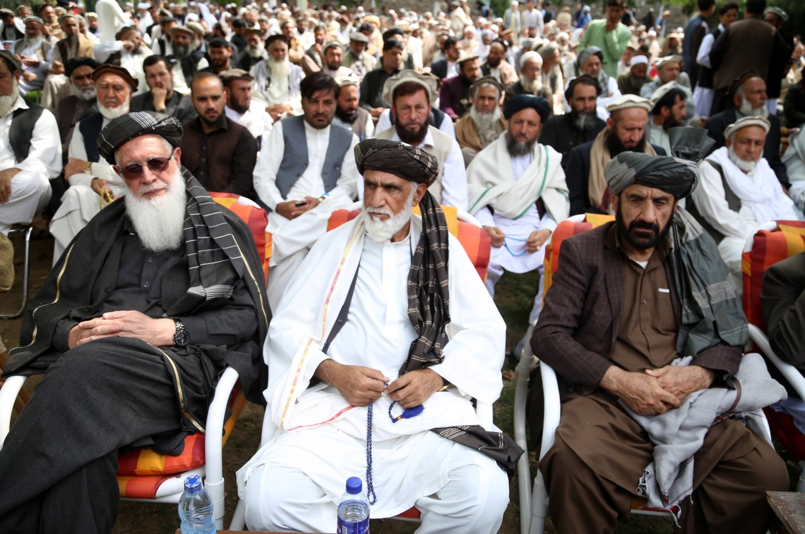 Afghans gather to discuss the aftermath of a proposal made in a letter by U.S. Secretary of State Antony Blinken to accelerate the ongoing peace negotiations with the Taliban, in Jalalabad, Afghanistan, March 13, 2021.  (EPA Photo)