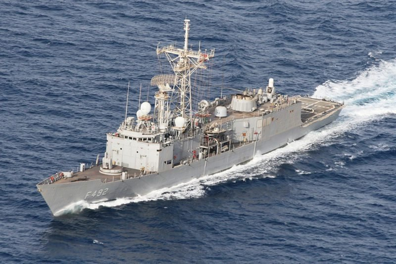 Turkish navy frigate TCG Gemlik (F-492) escorts Turkish drilling vessel Yavuz in the Eastern Mediterranean Sea off Cyprus, Aug. 6, 2019. (AA)