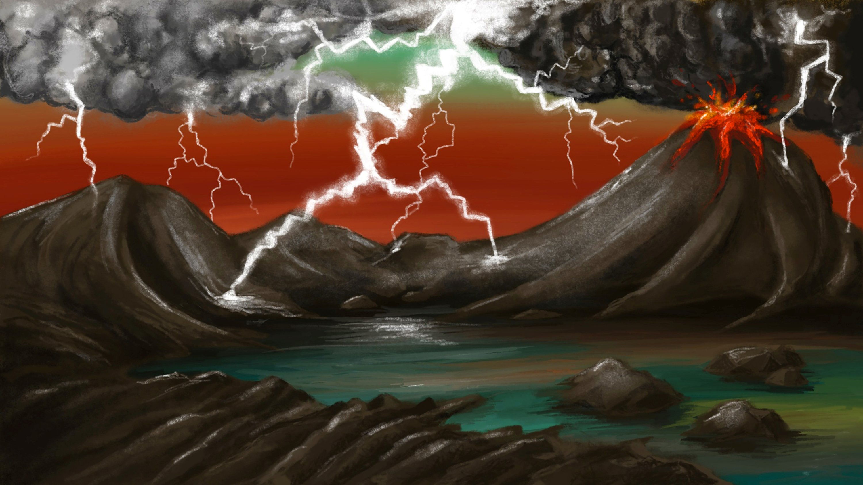 An artist's rendition shows the early Earth environment, as lightning generated by storms and volcanic plumes frequently struck volcanic rocks. (Lucy Entwisle via Reuters)