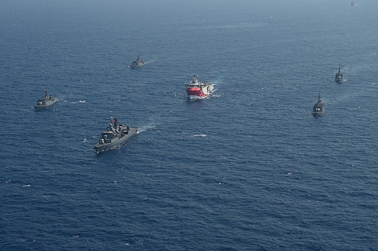 Turkish warships escort Turkey's Oruç Reis seismic research vessel (C) in the Eastern Mediterranean, Aug. 10, 2020. (Reuters Photo)
