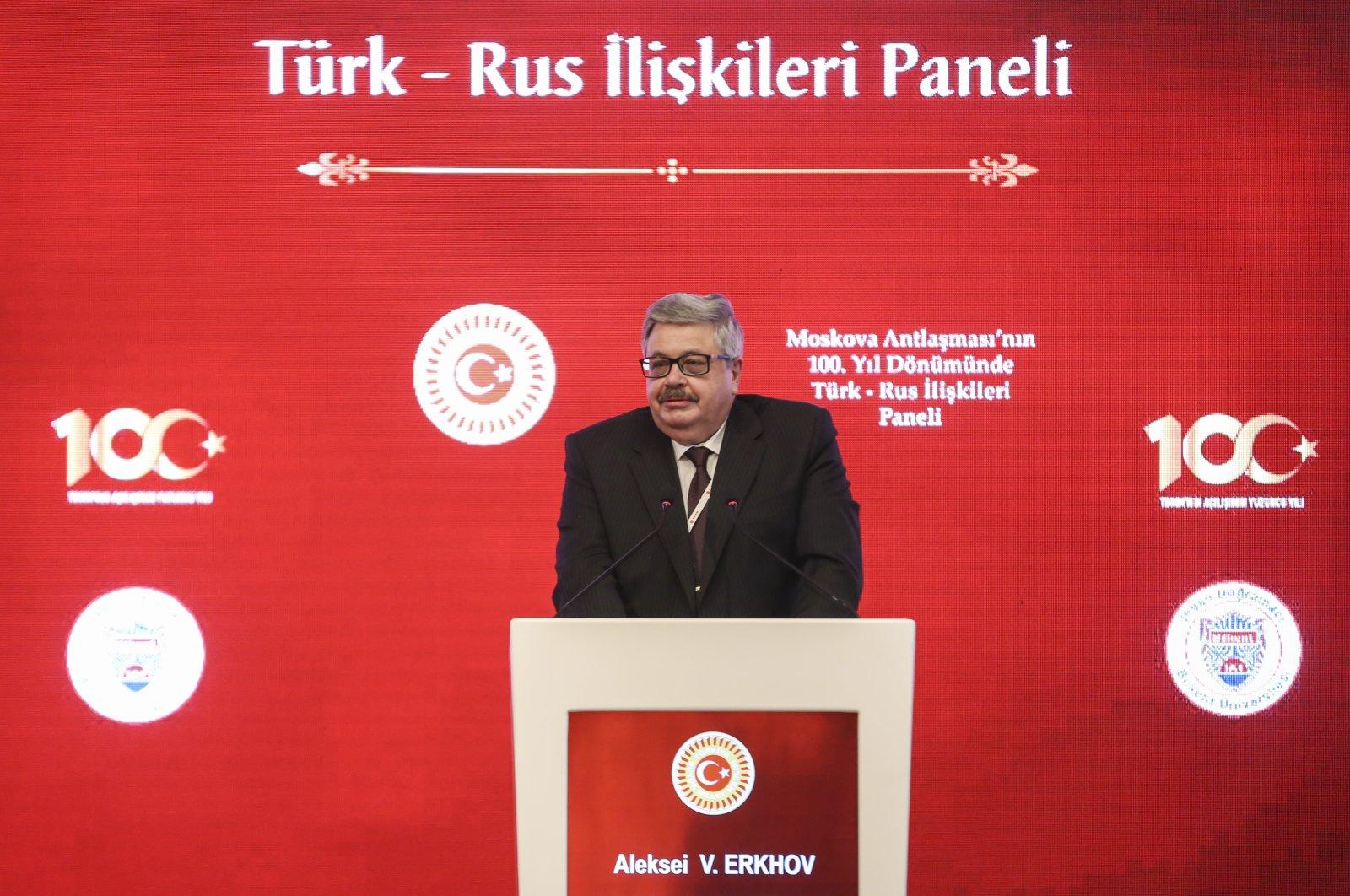 Russian Ambassador Aleksei Erkhov speaking at the centennial anniversary panel of the Treaty of Brotherhood, Ankara, Turkey, March 15, 2021 (AA Photo)