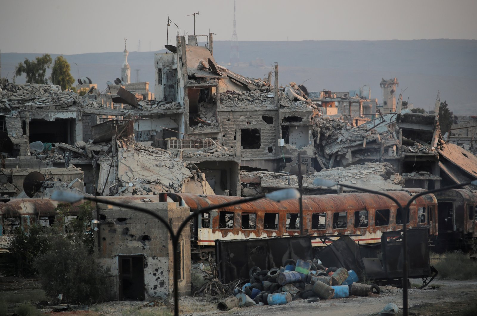 Destroyed buildings are seen near a train station in Damascus, Syria, Sept. 12, 2018. (Reuters Photo)