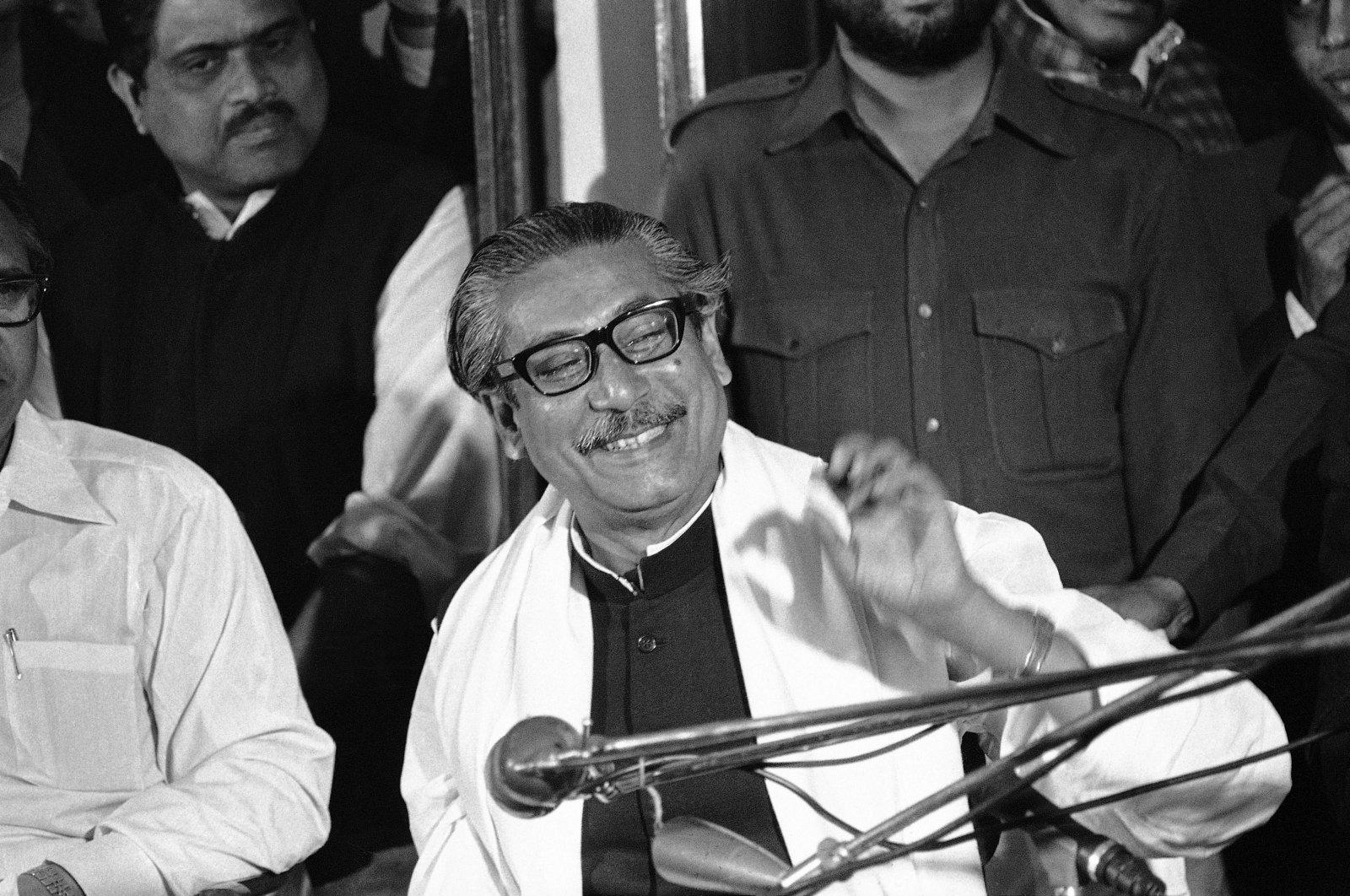 Sheikh Mujibur Rahman speaks at press conference in Dacca, Bangladesh, Jan. 14, 1972. (AP Photo)