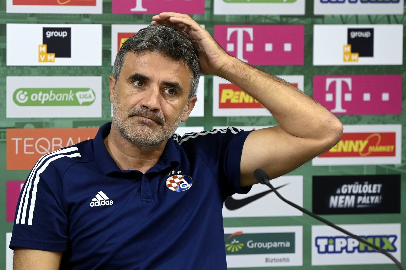 Dinamo Zagreb head coach Zoran Mamic attends a news conference in Budapest, Hungary, Sept. 15, 2020. (AP Photo)