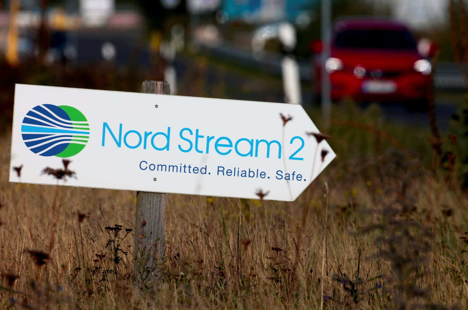 A road sign directs traffic towards the Nord Stream 2 gas line landfall facility entrance in Lubmin, Germany, Sept. 10, 2020. (Reuters Photo)
