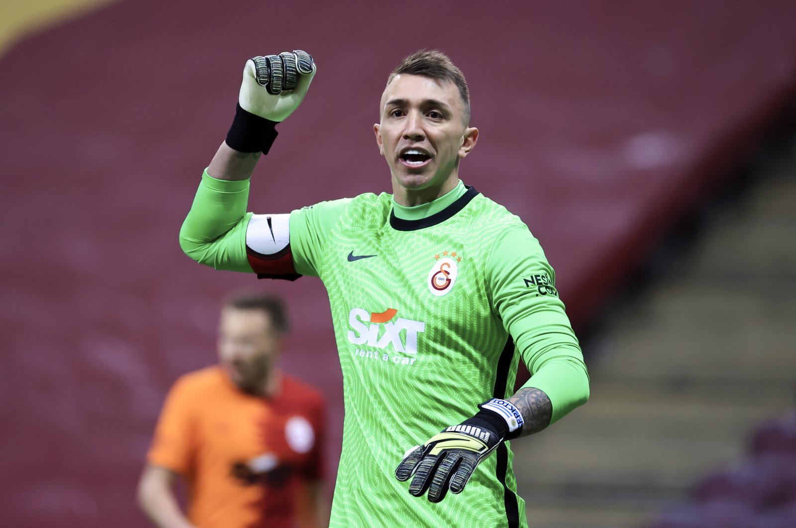 Galatasaray's veteran goalkeeper Fernando Muslera reacts during a match against Sivasspor at the Türk Telekom Stadium, Istanbul, Turkey, March 7, 2021.