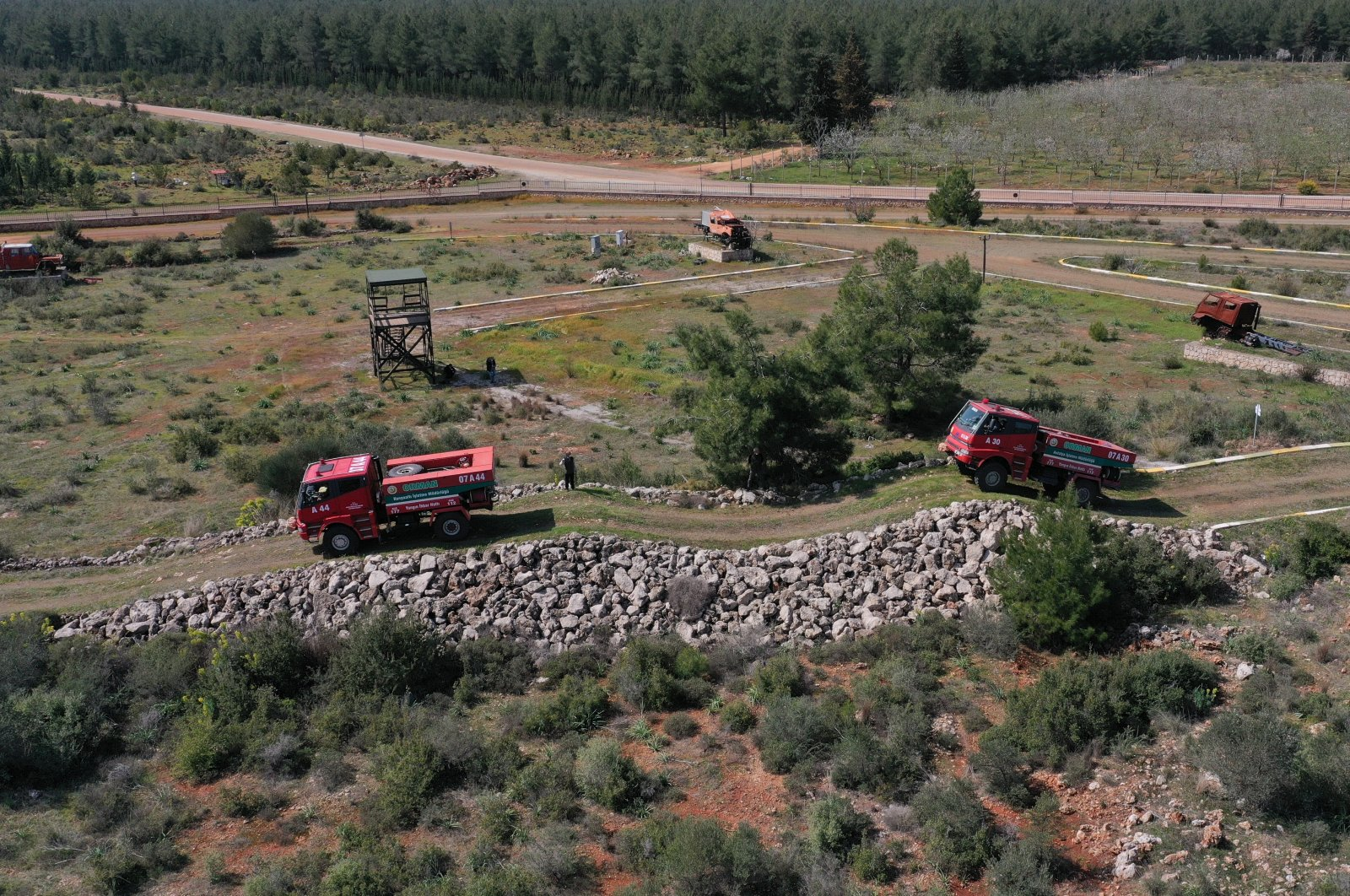 A view from a training of fire truck drivers on rough terrain at the center, in Antalya, southern Turkey, March 16, 2021. (AA PHOTO)