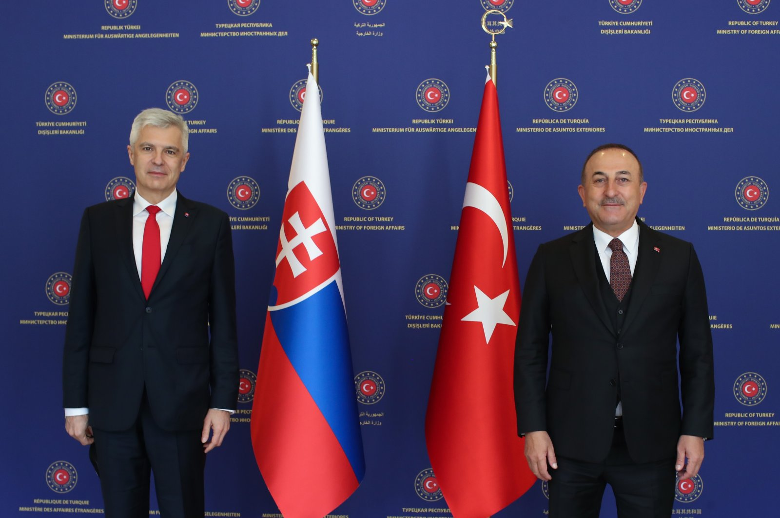 Foreign Minister Mevlüt Çavuşoğlu stands with his Slovak counterpart Ivan Korcok in Ankara, Turkey, March 16, 2021. (AA)