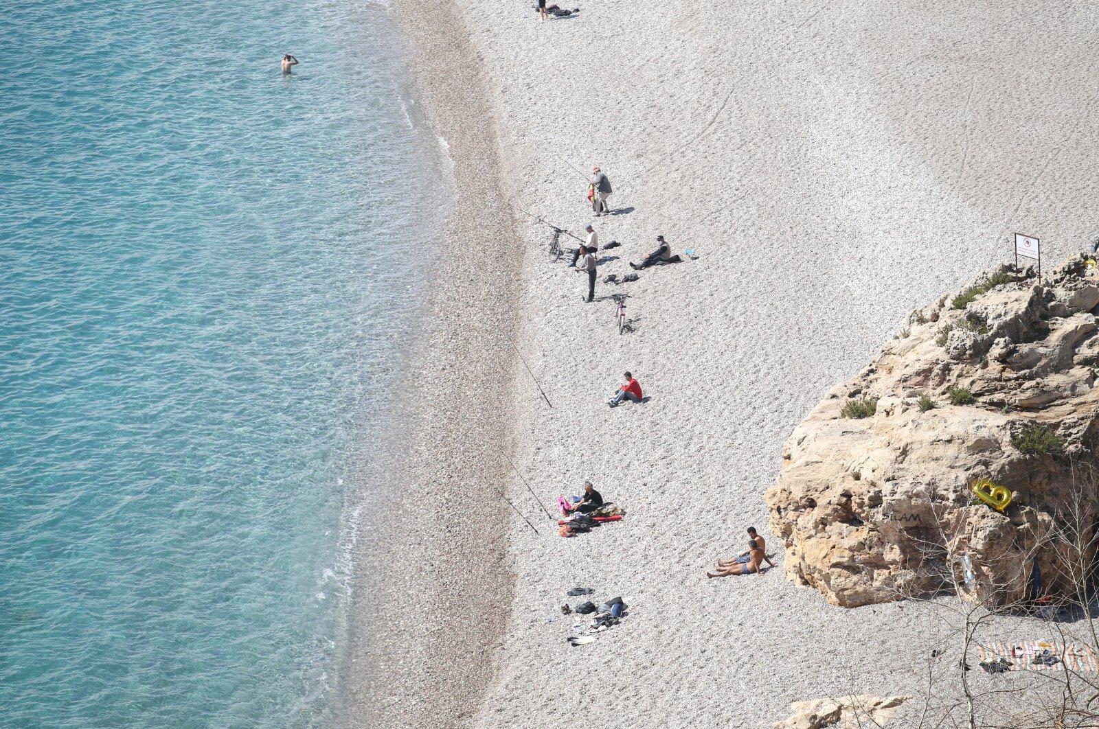 An aerial view of Konyaaltı beach, Antalya, southern Turkey, March 13, 2021. (AA Photo)