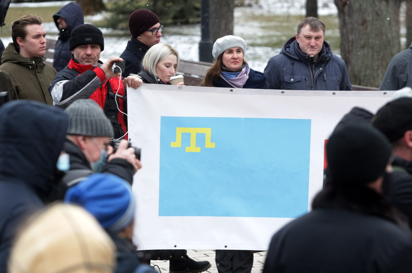 The Solidarity with Crimea event takes place in Kyiv, Ukraine, March 9, 2021. (AA)