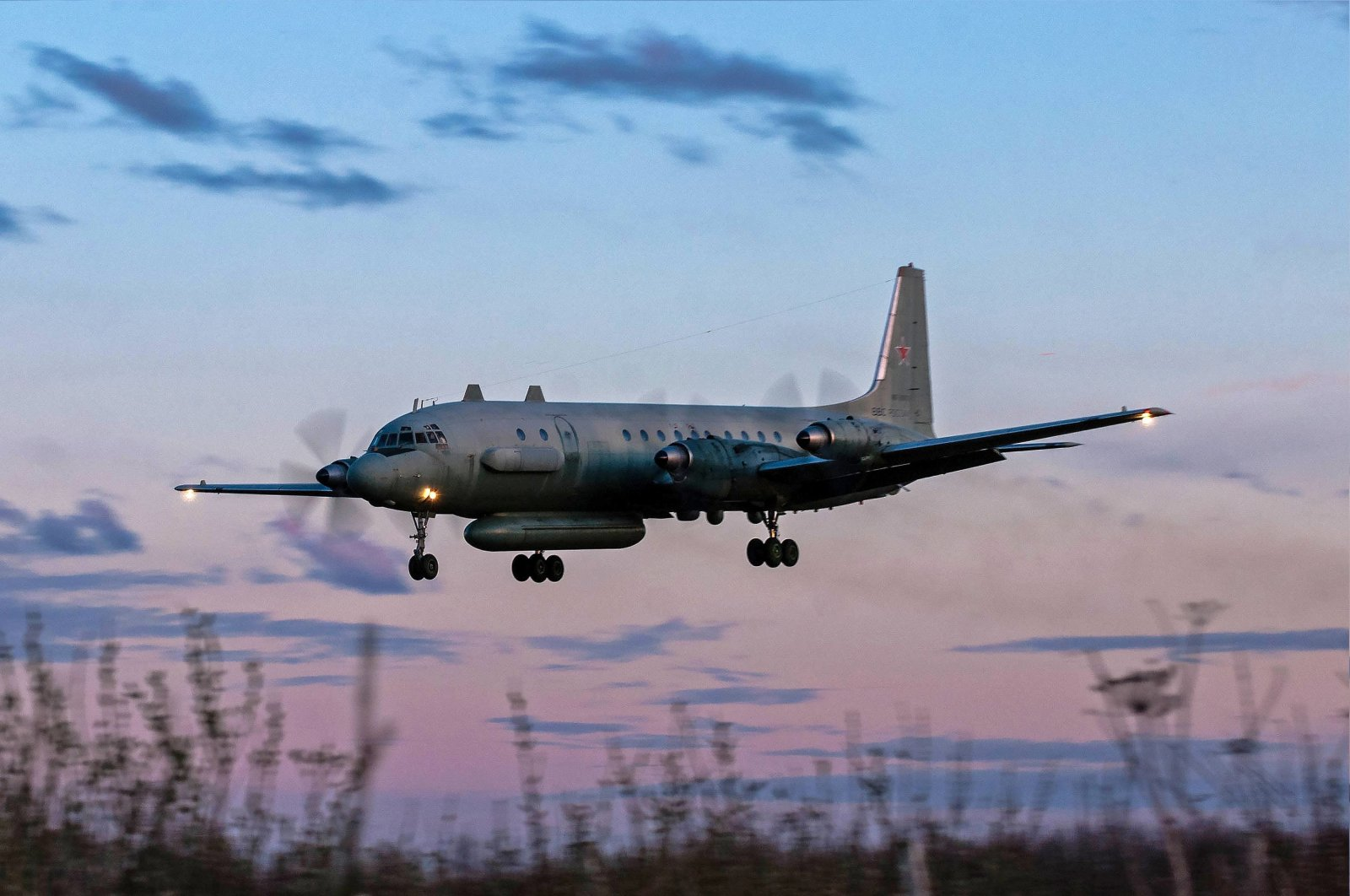 A photo taken on July 23, 2006 shows a Russian IL-20M (Ilyushin 20m) plane landing at an unknown location. (AFP Photo)