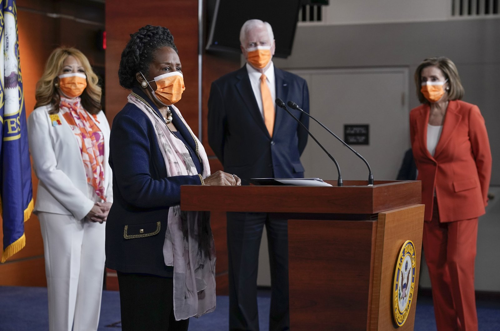 Rep. Sheila Jackson Lee speaks to reporters as she is joined by, from left, Rep. Lucy McBath, Rep. Mike Thompson and Speaker of the House Nancy Pelosi, at a news conference on passage of gun violence prevention legislation, at the Capitol in Washington, U.S., March 11, 2021. (AP Photo)