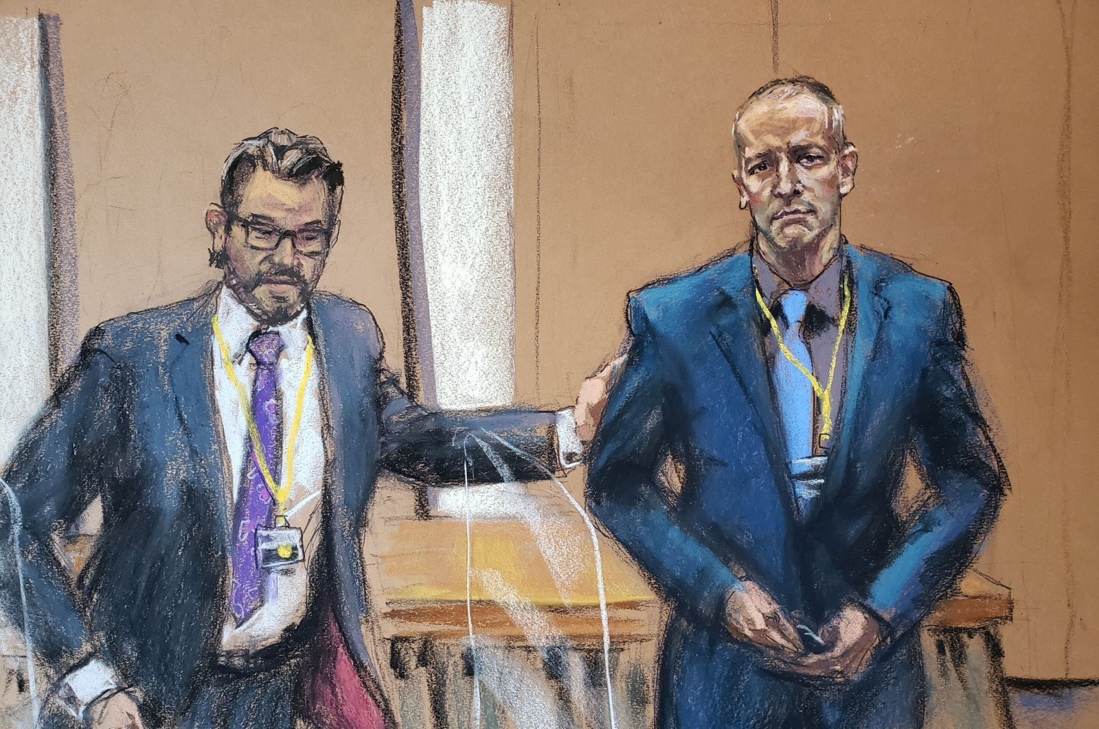 In this courtroom sketch, defense attorney Eric Nelson introduces former Minneapolis police officer Derek Chauvin to potential jurors in his trial in Minneapolis, Minnesota, U.S., March 15, 2021. (Reuters Photo)