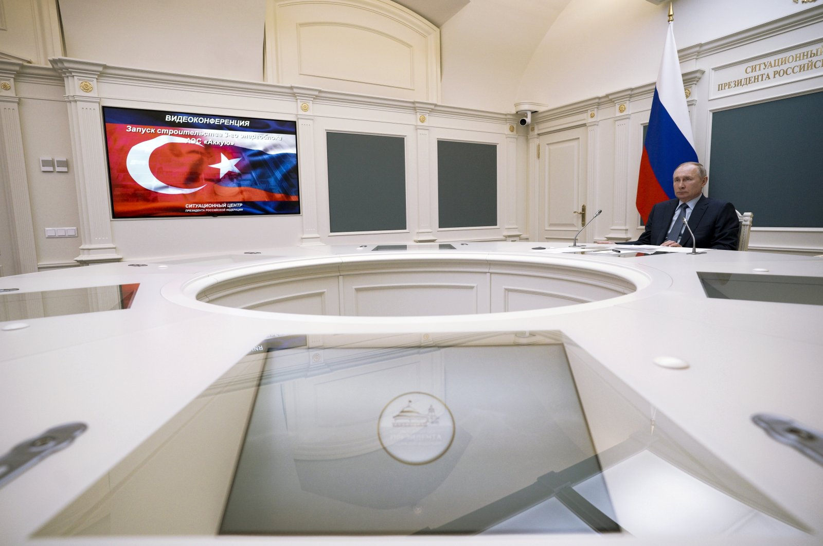 Russian President Vladimir Putin takes part in a ceremony with his counterpart Recep Tayyip Erdoğan via videoconference, in Moscow, Russia, March 10, 2021. (AP Photo)