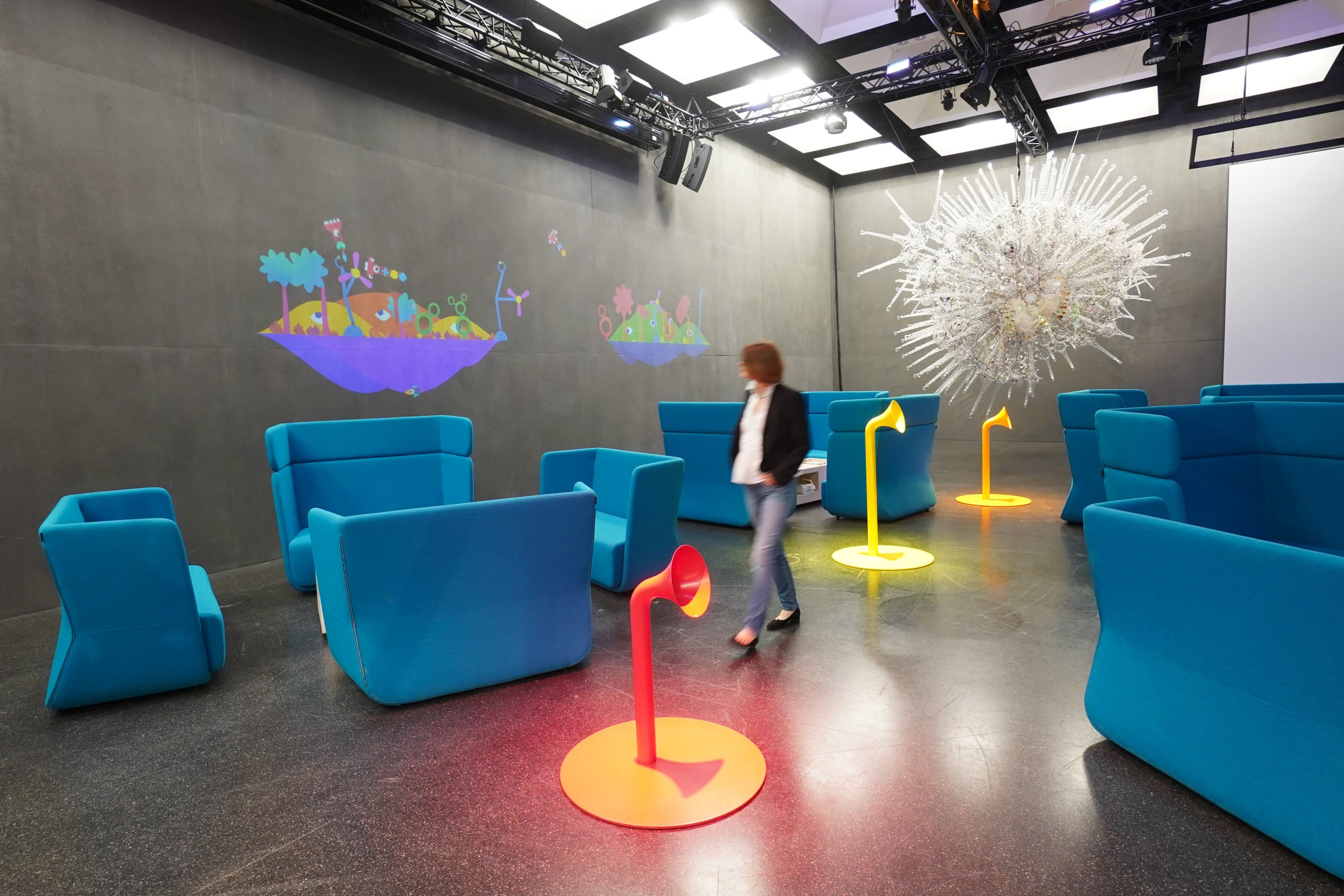 A visitor at the Futurium museum in Berlin, Germany. (DPA Photo)