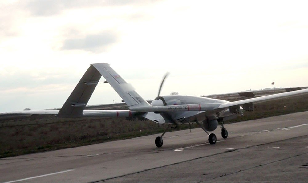 Baykar's Bayraktar TB2 UCAV waits on a runway during the military drill in Azerbaijan, March 17, 2021. (IHA Photo)
