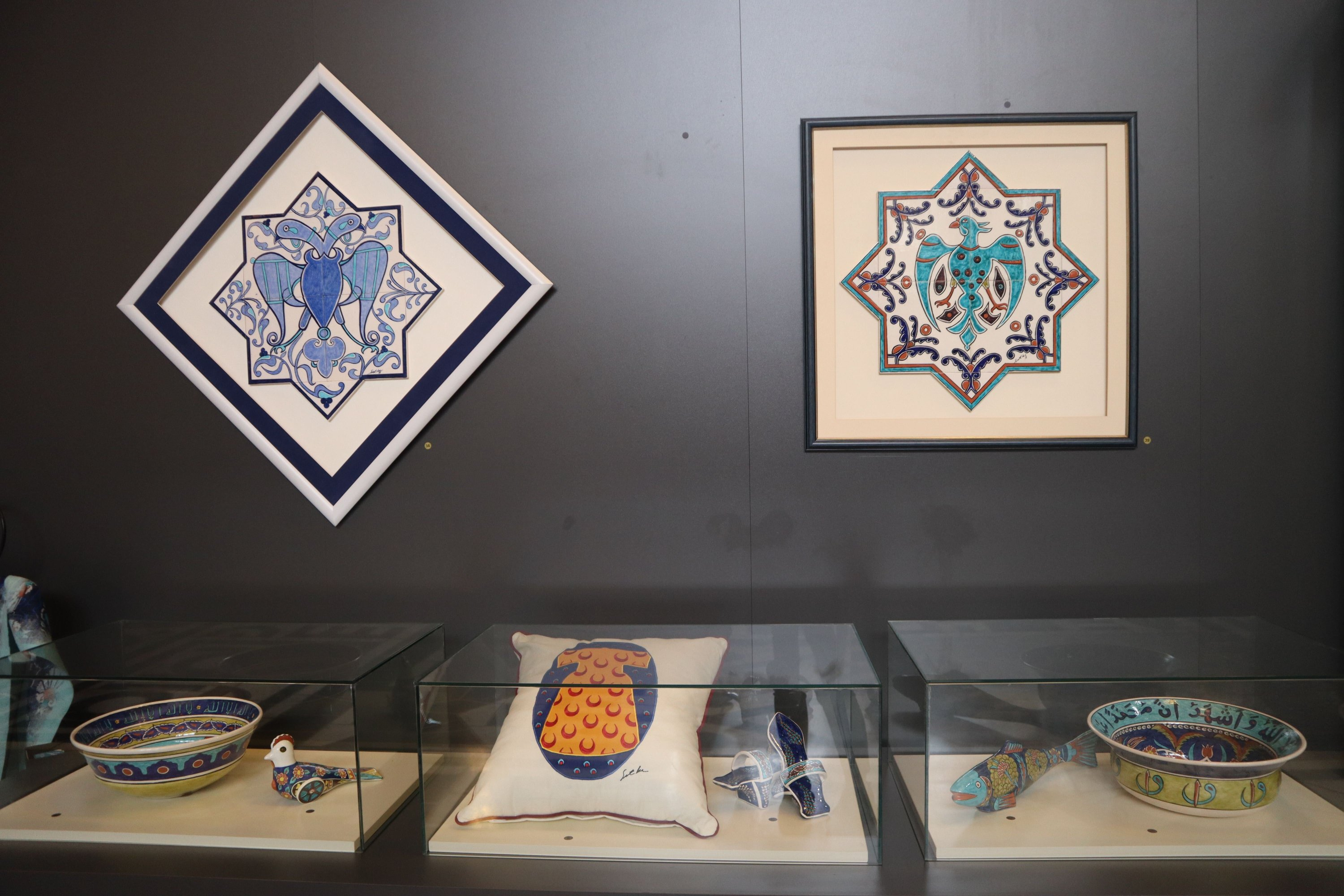 "A selection of works decorated with tile patterns at the ""Parliament Private Kütahya Collection Sıtkı' exhibition in the Turkish Parliament's Hall of Honor, Ankara, Turkey, March 17, 2021. (Photo by Dilara Aslan)"