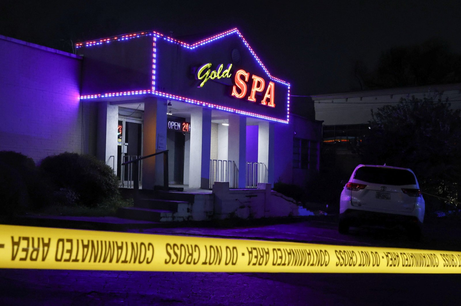 Crime scene tape surrounds Gold Spa after the deadly shootings at a massage parlor and two day spas in the Atlanta area, in Atlanta, Georgia, U.S. March 16, 2021. (Reuters Photo)