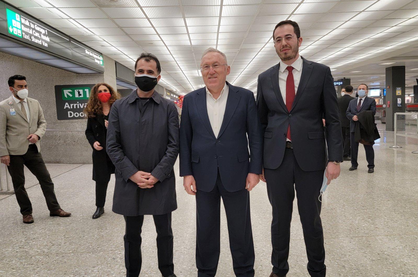 Embassy workers and the Turkish community greet  Turkey's new U.S. Ambassador Hasan Murat Mercan in Dallas airport, March 15, 2021. (AA Photo)