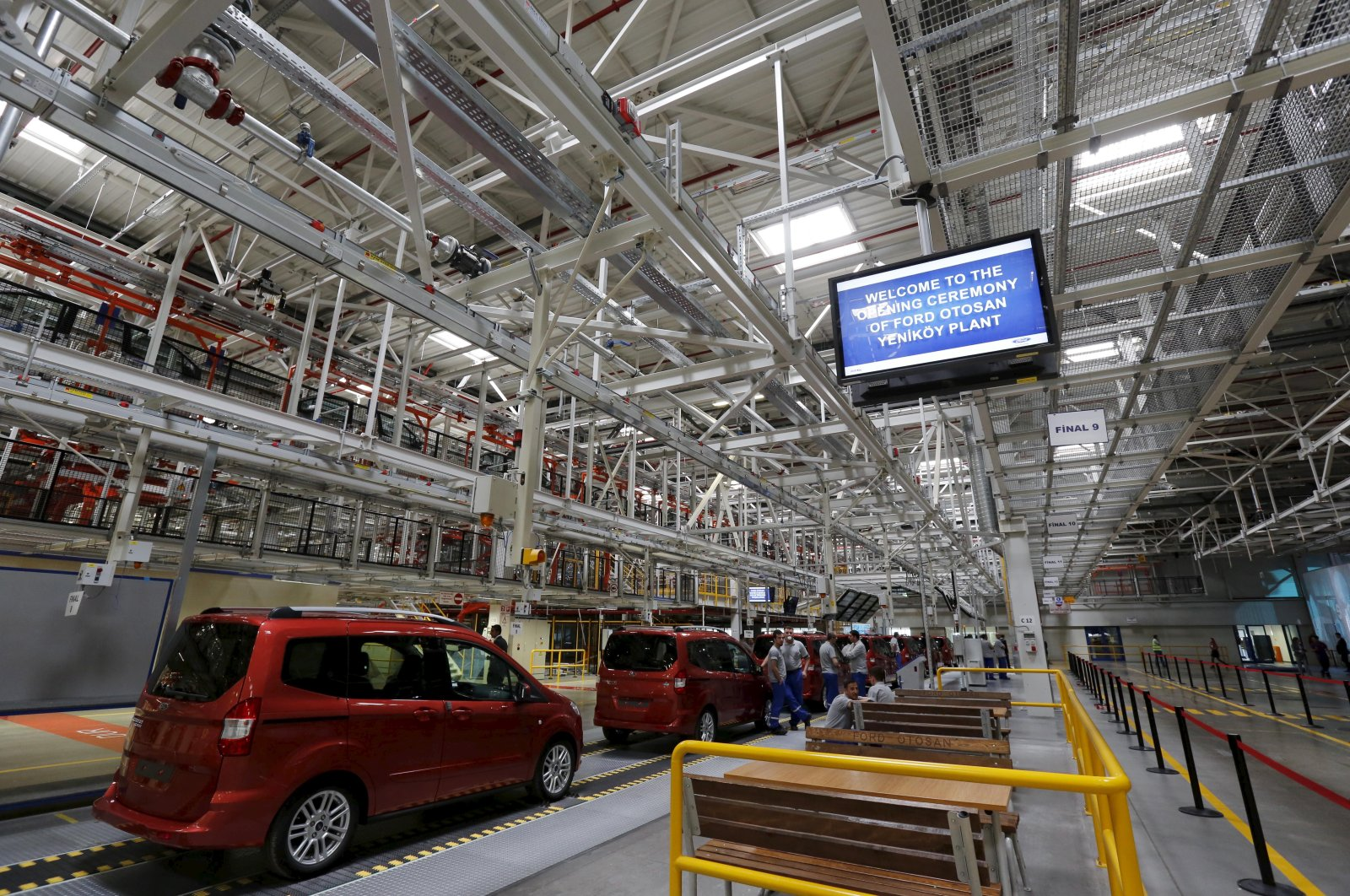 Ford Tourneo Courier light commercial vehicles are pictured at the Ford Otosan car plant in Kocaeli, Turkey, May 22, 2014. (Reuters Photo)