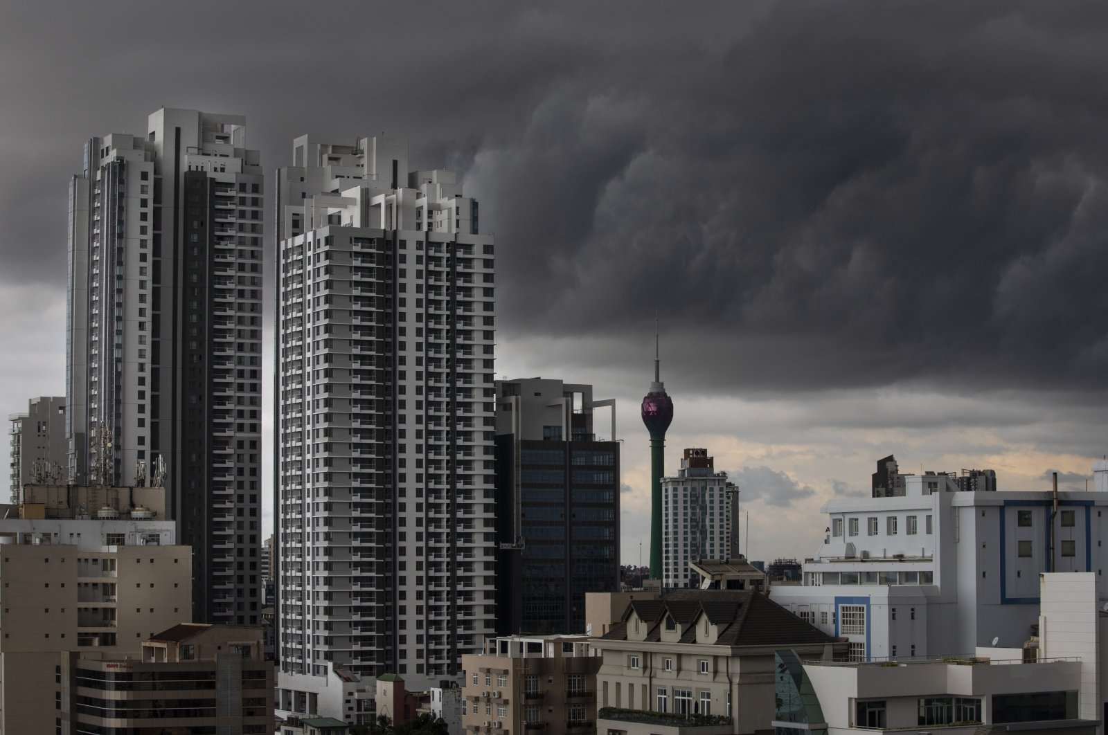 A storm is seen on the horizon against the skyline of Colombo, Sri Lanka, Nov. 16, 2019. (Getty Images)