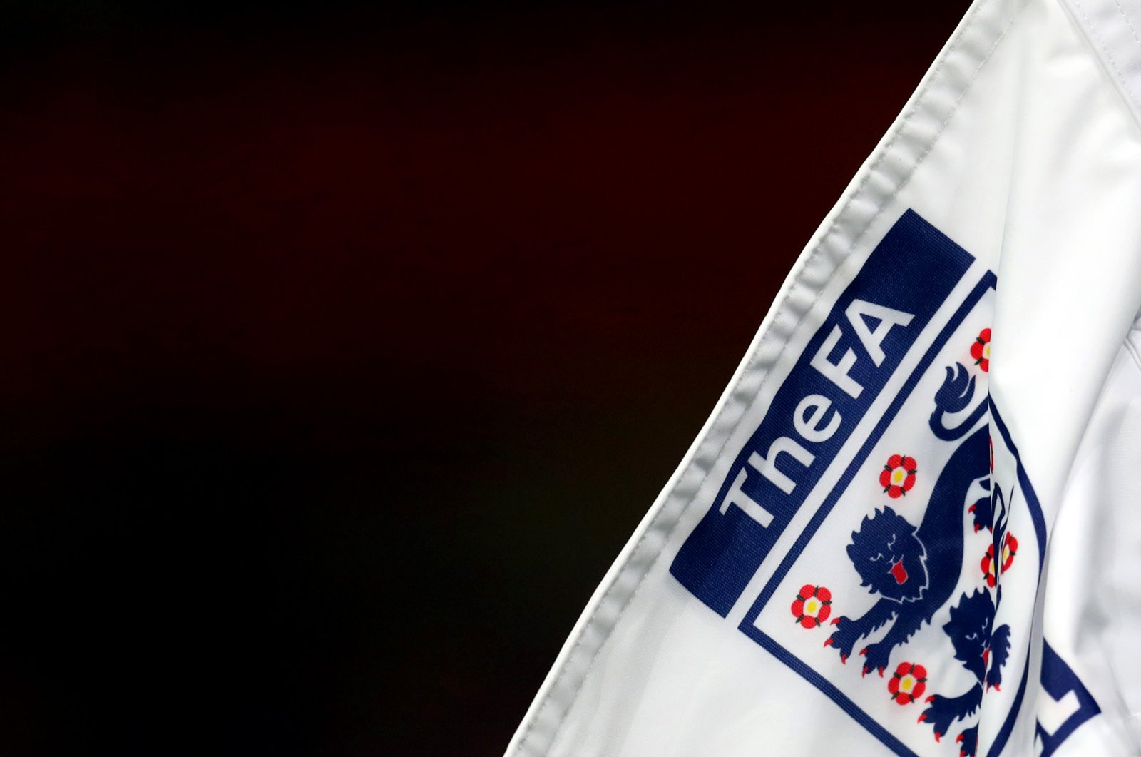 The FA logo and England badge on the corner flag ahead of the UEFA Euro Under 21 Qualifier match, in Wolverhampton, England, Nov. 13, 2020. (Getty Images)