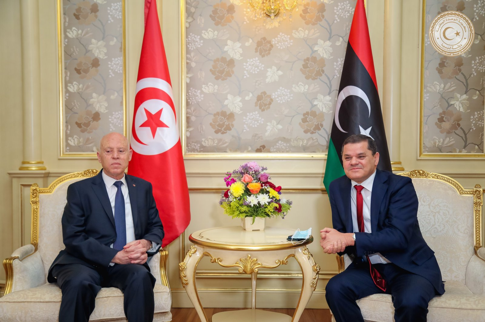 Tunisia's President Kais Saied meets with Libya's Prime Minister Abdulhamid Dbeibeh in Tripoli, Libya March 17, 2021. (Media Office of the Prime Minister via Reuters)
