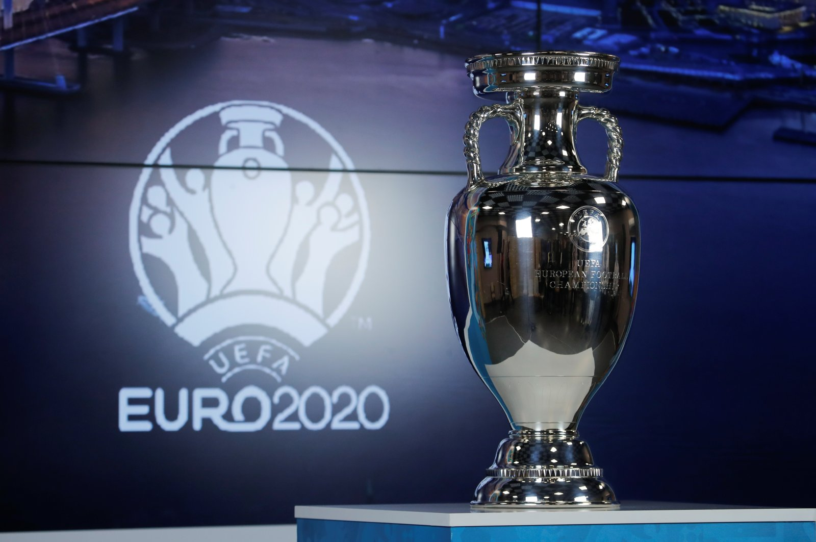 The UEFA Euro 2020 trophy is displayed marking 100 days before the start of the Euro 2020 tournament, St. Petersburg, Russia, March 3, 2021. (Reuters Photo)