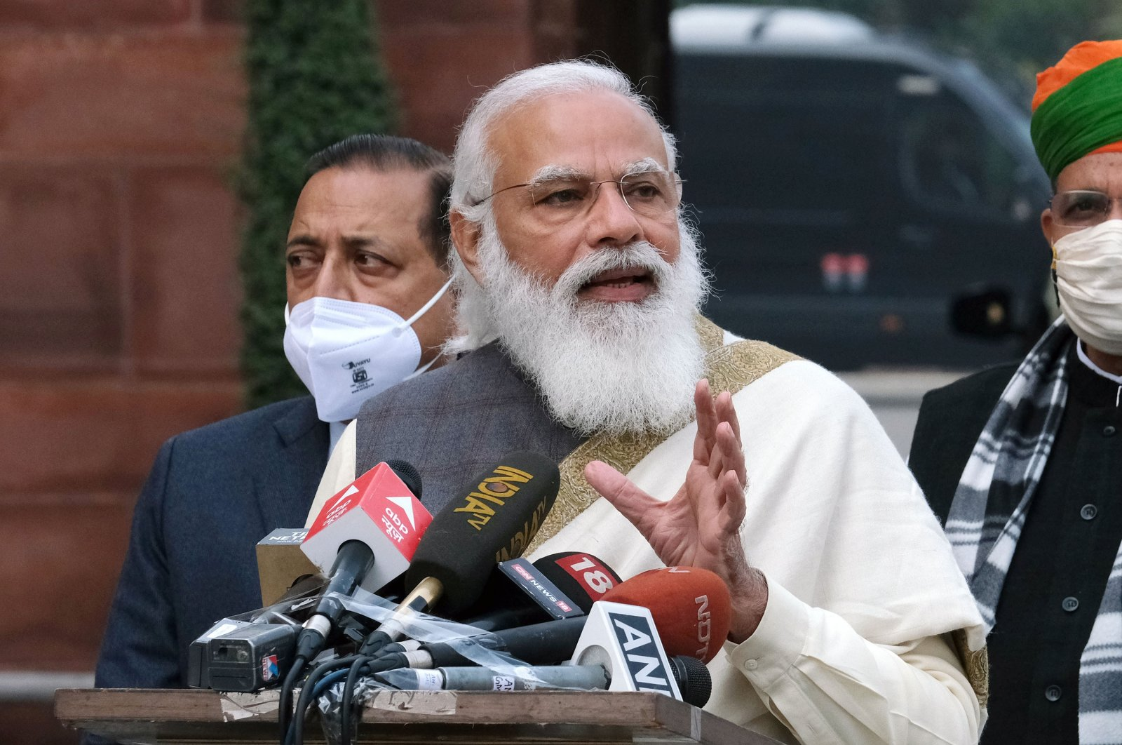 Narendra Modi, India's prime minister, during a news conference at Parliament House on the opening day of the Budget Session in New Delhi, India, Jan. 29, 2021. (Bloomberg via Getty Images)