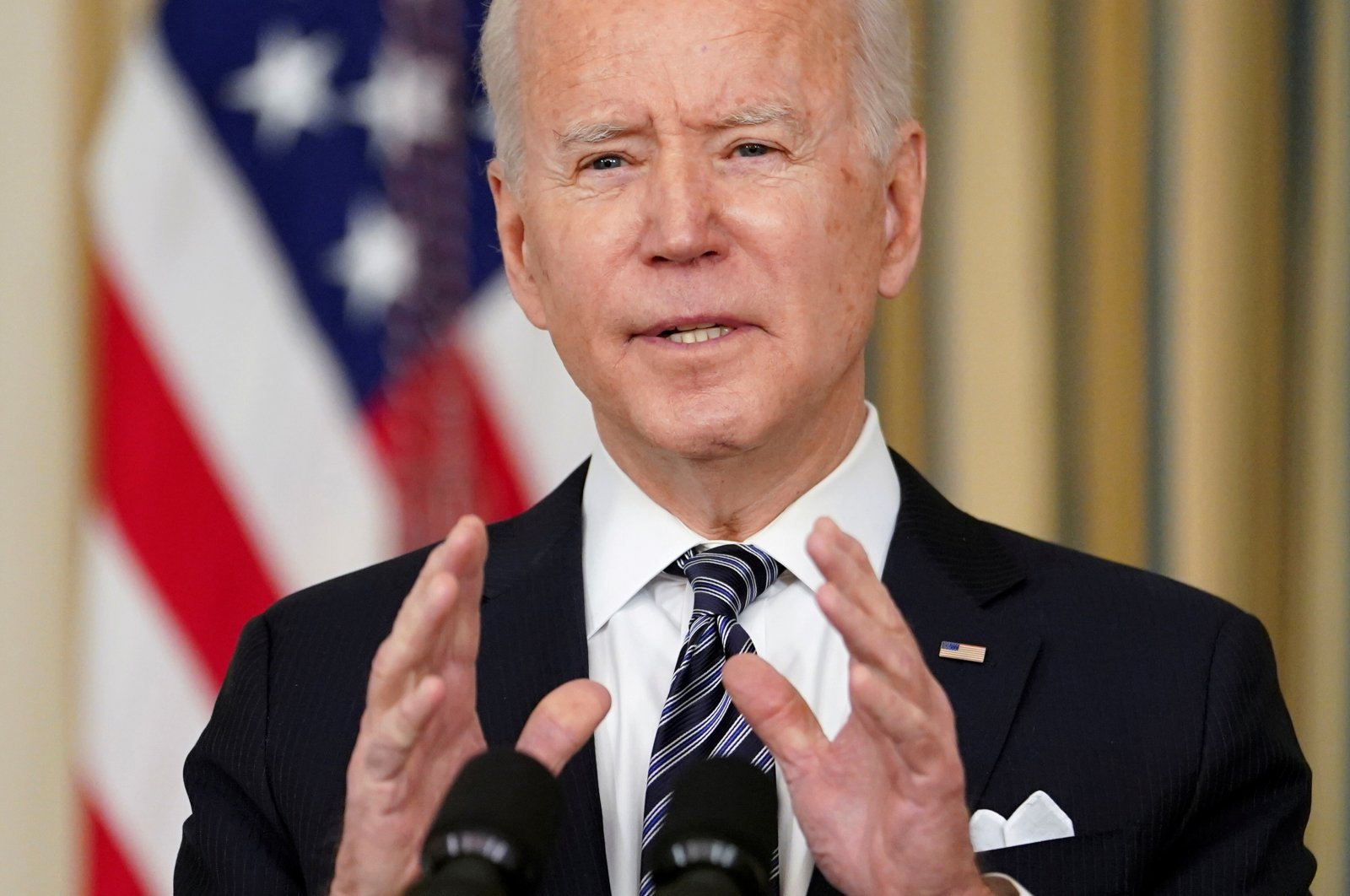 U.S. President Joe Biden speaks about the implementation of the American Rescue Plan in the State Dining Room at the White House in Washington, U.S., March 15, 2021. (Reuters Photo)