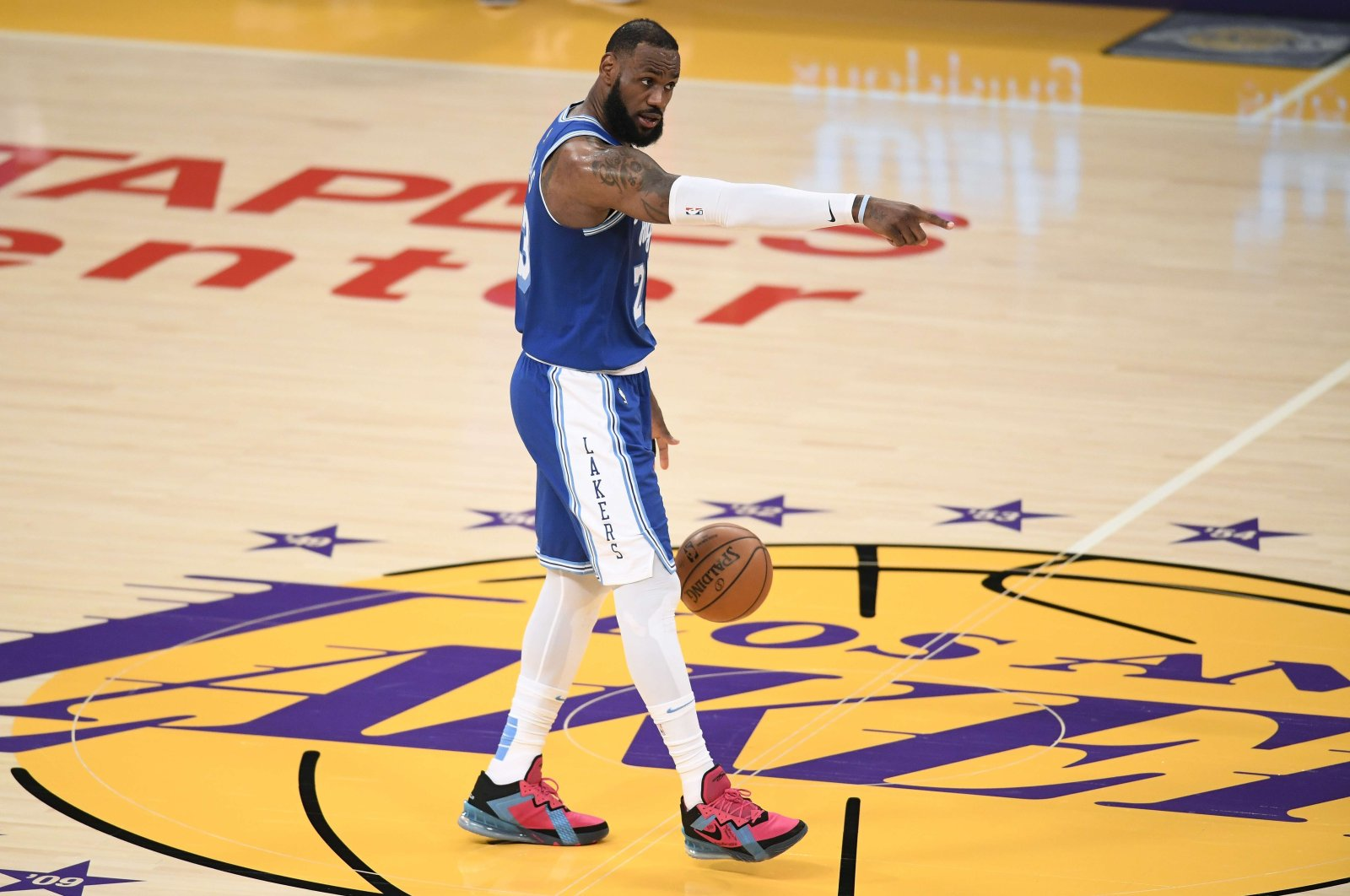 Los Angeles Lakers forwardLeBron James gestures during an NBA match against Minnesota Timberwolves at Staples Center, Los Angeles, California, March 16, 2021. (AFP Photo)