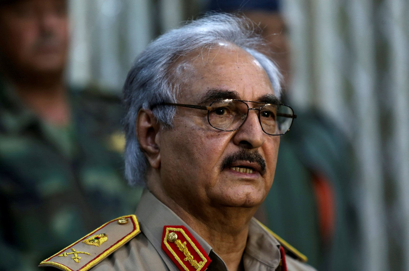 Libyan warlord Khalifa Haftar speaks during a news conference at a sports club in Abyar, a small town to the east of Benghazi, Libya, May 21, 2014. (Reuters File Photo)