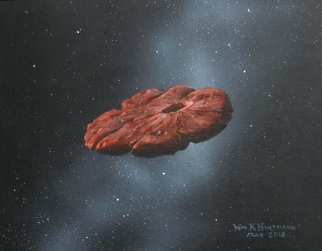 This 2018 illustration provided by William Hartmann and Michael Belton shows a depiction of the Oumuamua interstellar object as a pancake-shaped disk. (William Hartmann and Michael Belton via AP)