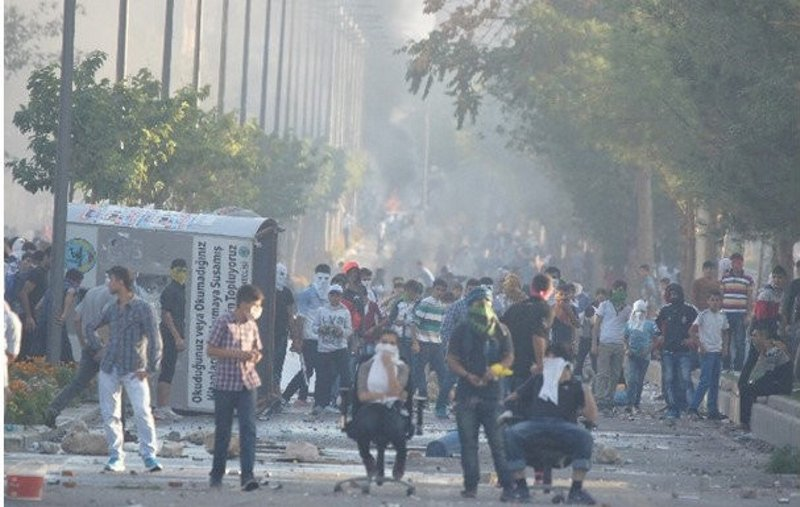The riots of Oct. 6-7, 2014, are seen in this undated photo. (DHA Photo)