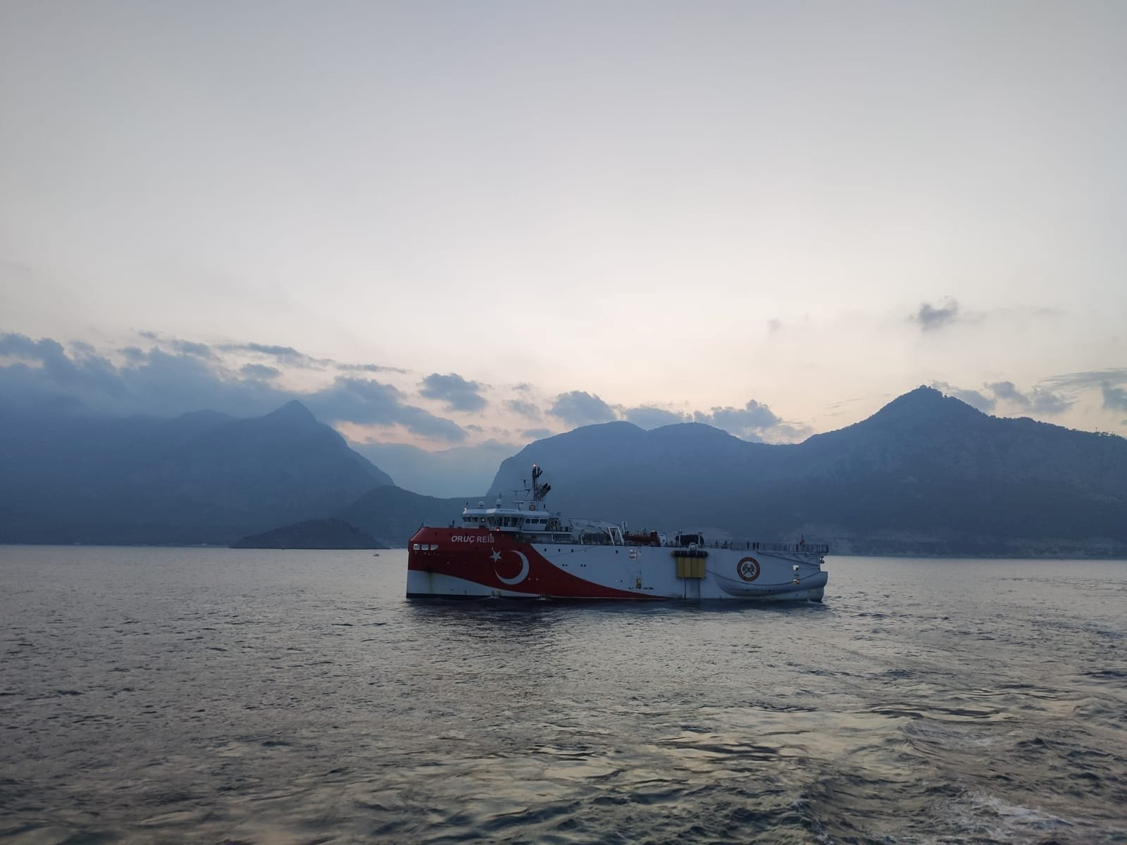 The Turkish seismic research vessel Oruç Reis sails through the Mediterranean after leaving a port in Antalya, Turkey, Aug. 10, 2020. (Reuters Photo)