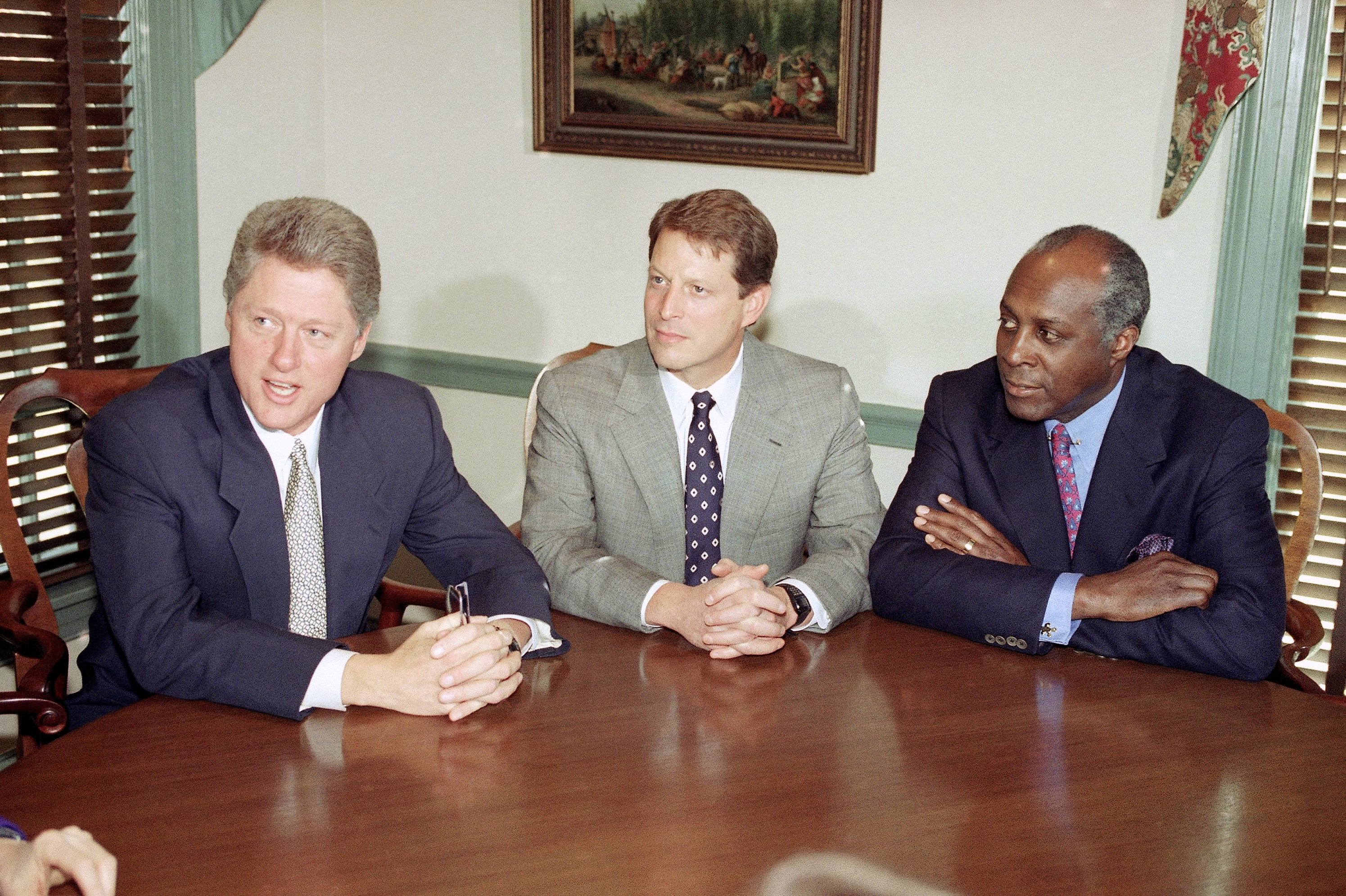 Then President-elect Bill Clinton (L) meets with Vice President-elect Al Gore and Vernon Jordan (R) at the Governor's Mansion in Little Rock, Arkansas, U.S., Nov. 18, 1993. (AP Photo)