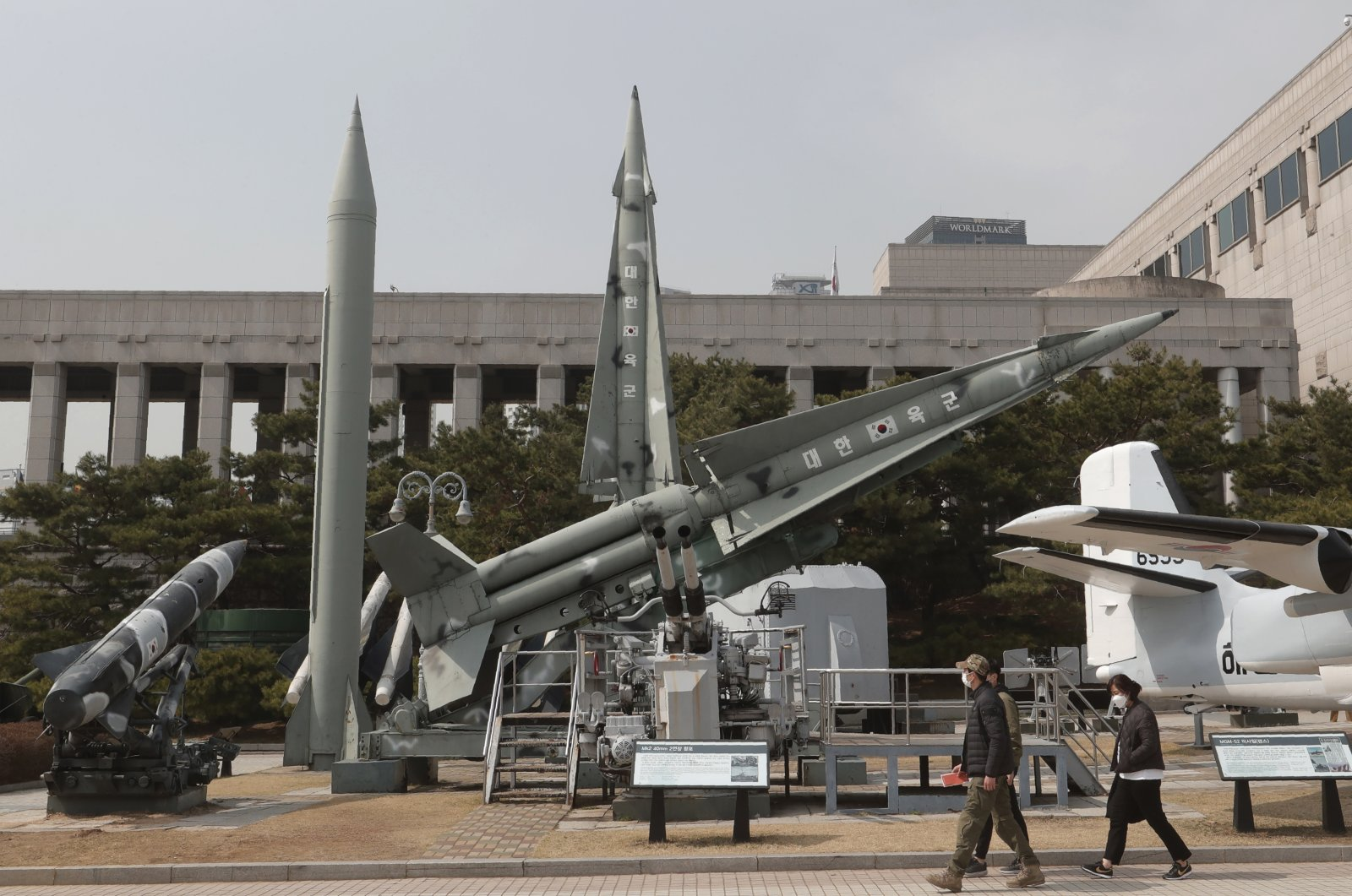 A mock North Korean Scud-B missile (2nd from L) and South Korean missiles are displayed at the Korea War Memorial Museum in Seoul, South Korea, March 18, 2021. (AP Photo)
