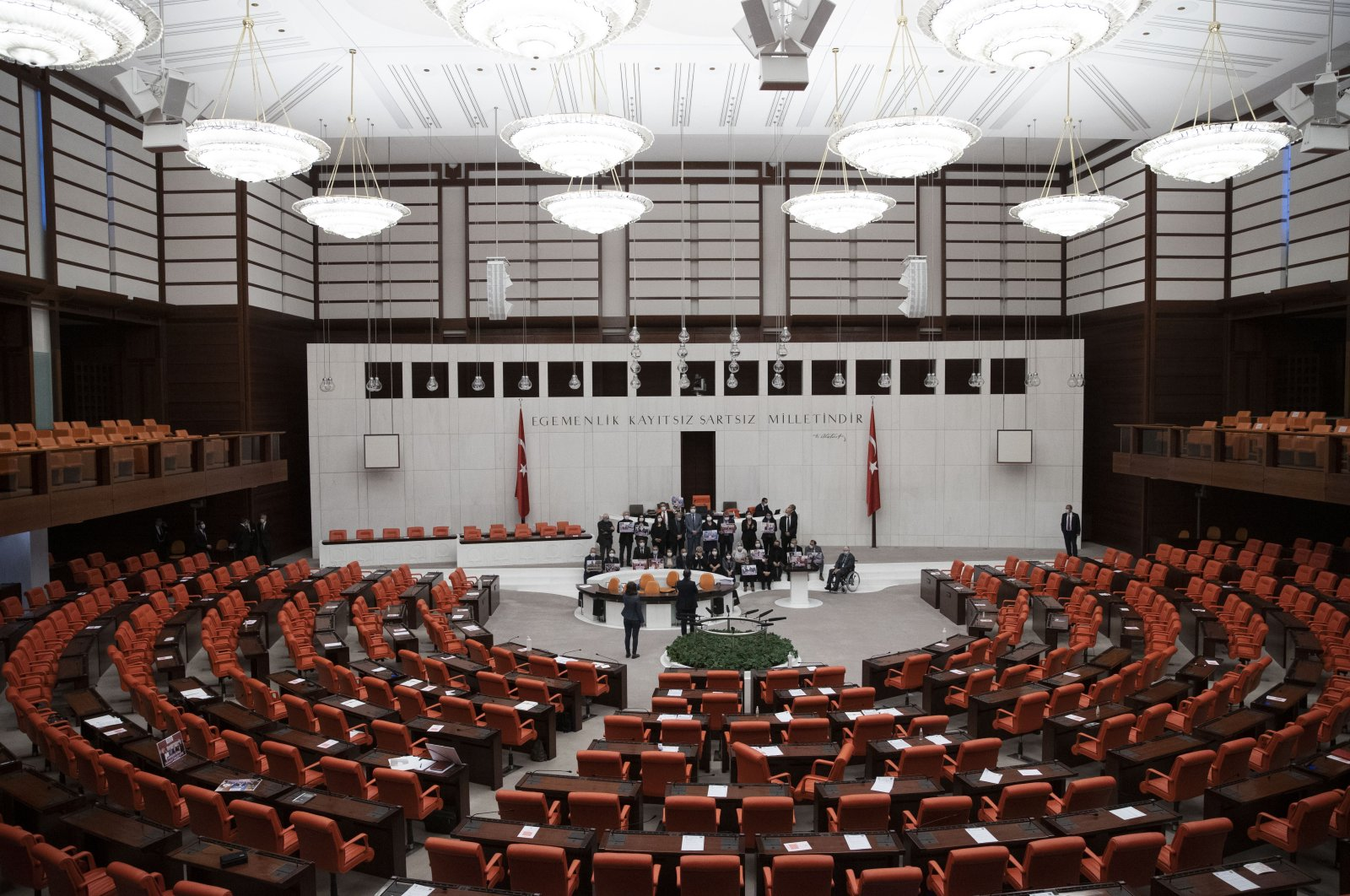 The Peoples' Democratic Party (HDP) lawmakers in protest after the parliament stripped a HDP deputy's parliamentary seat, Ankara, Turkey, March 17, 2021. (AA Photo)