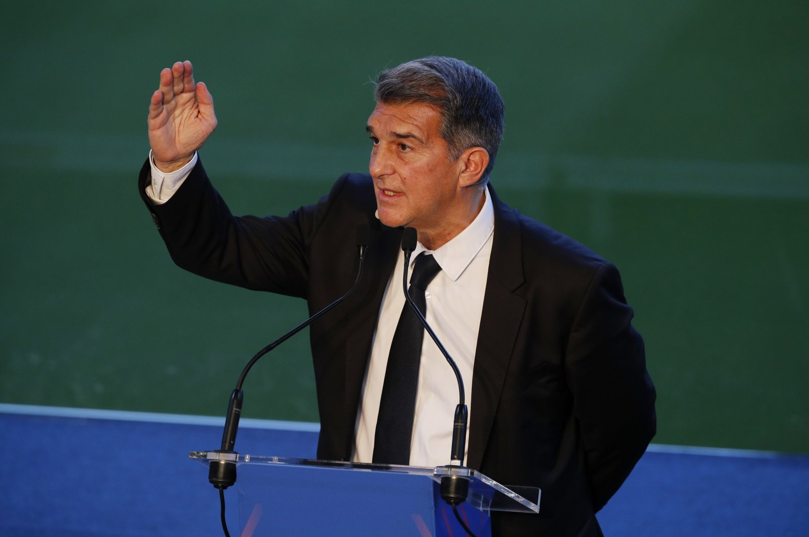 New Barcelona President Joan Laporta during the inauguration ceremony at Camp Nou, Barcelona, Spain, March 17, 2021. (Reuters Photo)