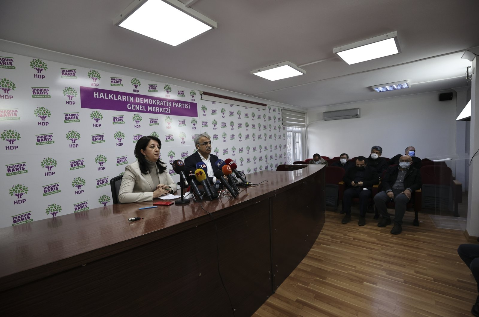 HDP Co-Chairpersons Pervin Buldan and Mithat Sancar hold a news conference at the HDP headquarters in Ankara on March 18, 2021 (AA Photo)