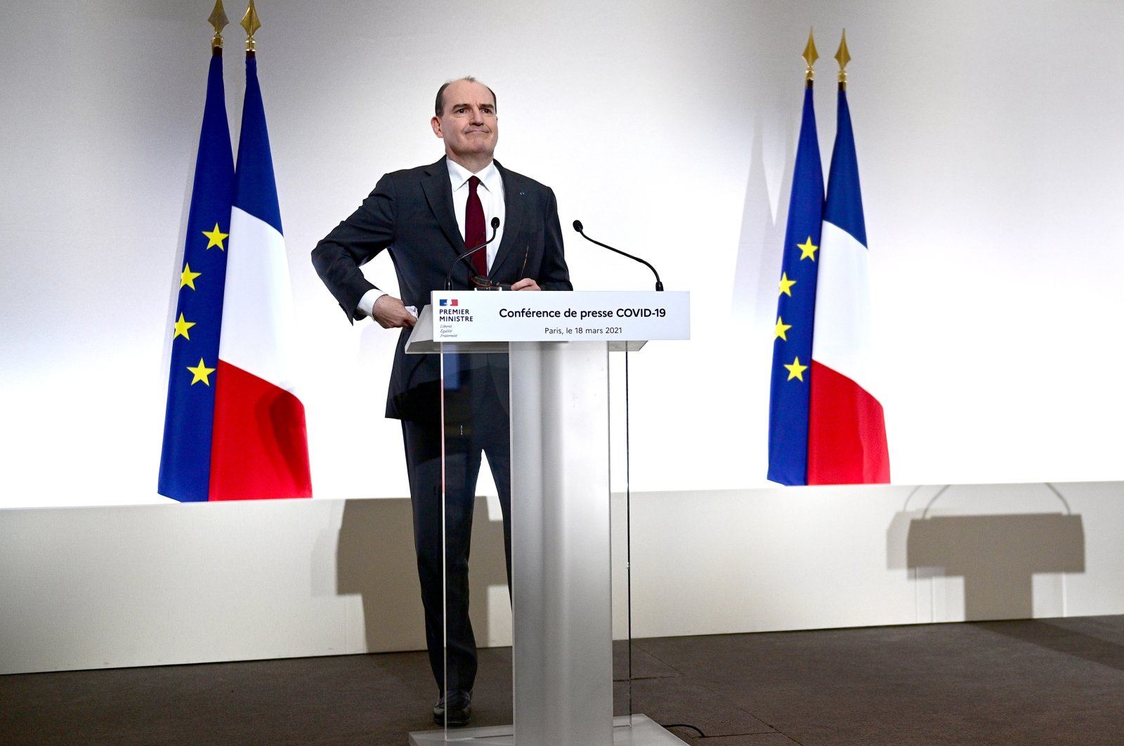 French Prime Minister Jean Castex delivers a press conference on the current French government strategy for the ongoing COVID-19 pandemic in Paris, France, on March 18, 2021. (EPA Photo)