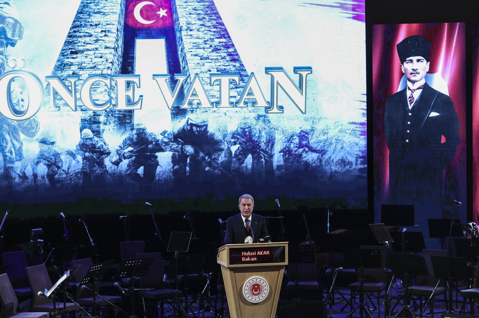 Defense Minister Hulusi Akar speaks at a commemoration event to mark Çanakkale Victory and Martyrs' Day on March 18, 2021. (AA Photo)