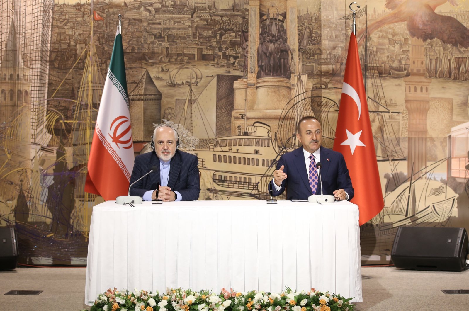 Foreign Minister Mevlüt Çavuşoğlu attends a joint news conference with Iranian counterpart Javad Zarif in Istanbul on June 16, 2020 (AA File Photo)