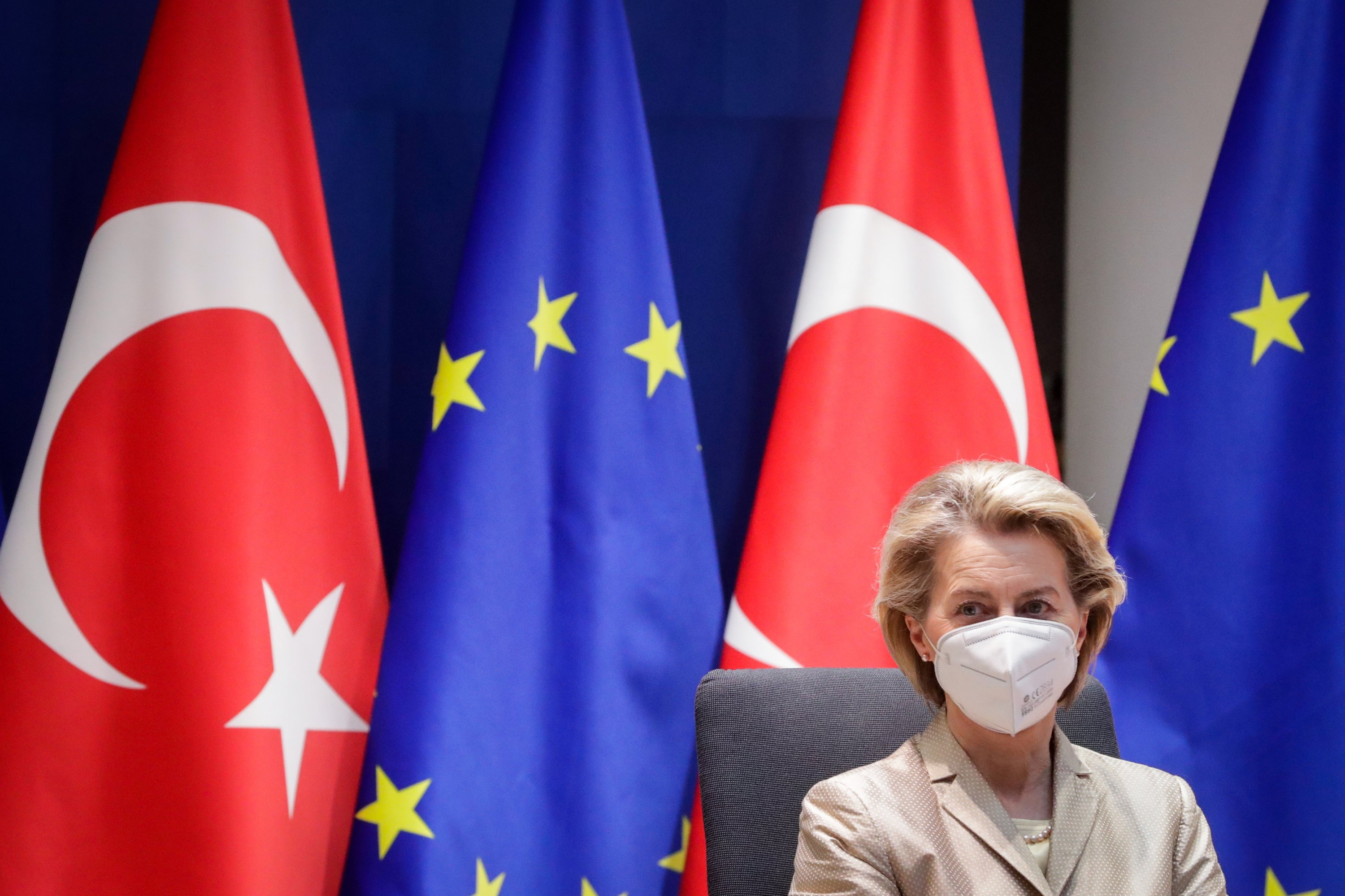 European Commission President Ursula von der Leyen wears a mask as she attends a video call with Turkey's President Recep Tayyip Erdoğan in Brussels, Belgium, March 19, 2021. (Reuters Photo)