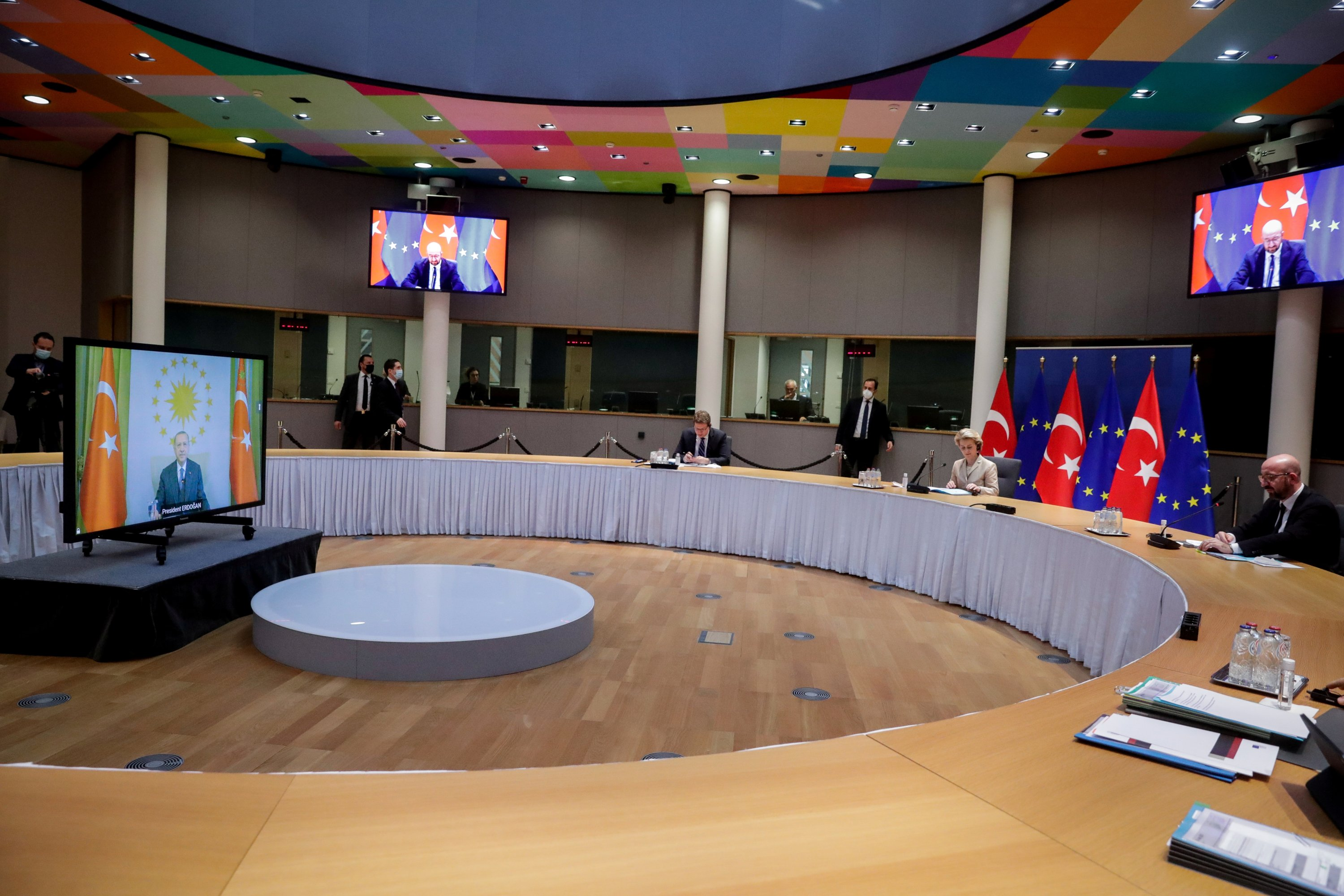 European Commission President Ursula von der Leyen and EU Council President Charles Michel hold a video call with Turkey's President Recep Tayyip Erdoğan, in Brussels, Belgium, March 19, 2021. (Reuters Photo)