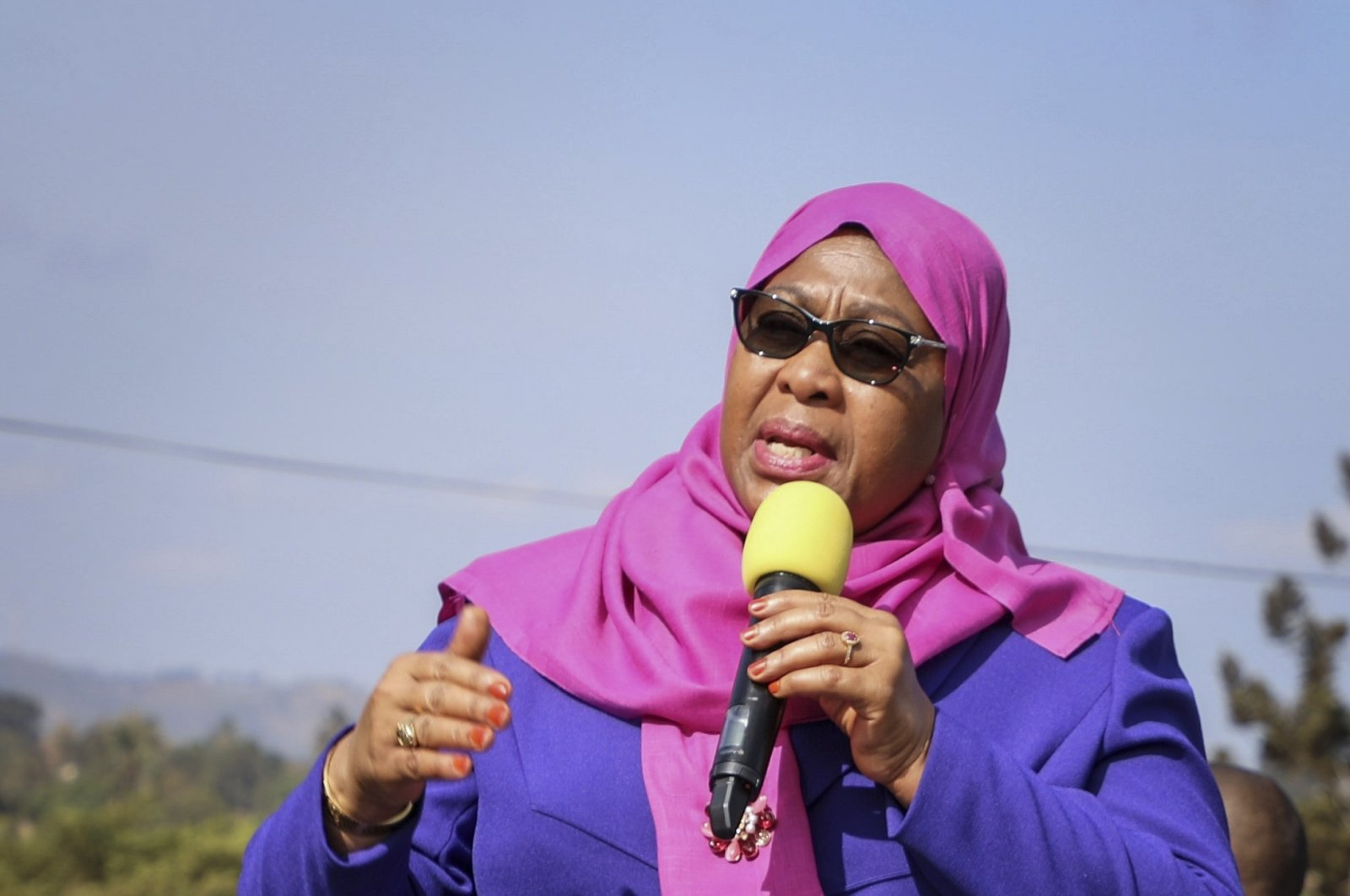 Tanzania's then Vice President Samia Suluhu Hassan speaks during a tour of the Tanga region of Tanzania, March 16, 2021. (AP Photo)