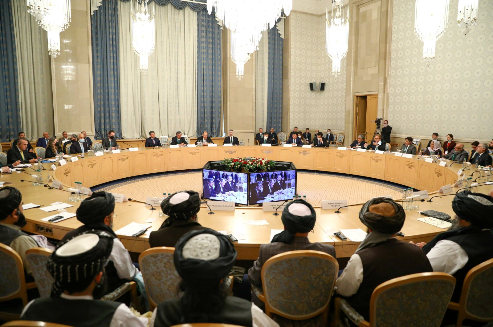 Officials attend the Afghan peace conference in Moscow, Russia, March 18, 2021. (Reuters Photo)