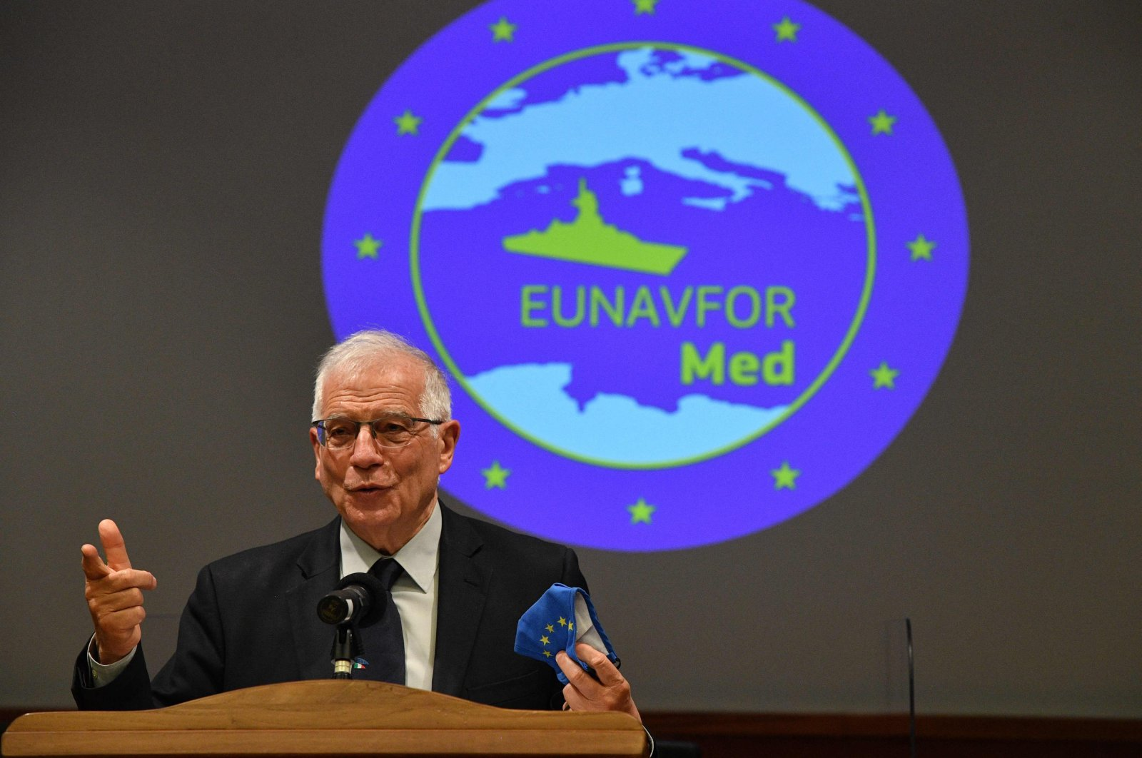 Josep Borrell, the vice-president of the European Commission and head of EU foreign affairs and security policy,  holds a press conference during a visit to the headquarters of the EU's IRINI naval operation, Rome, Italy, March 18, 2021. (AFP Photo)