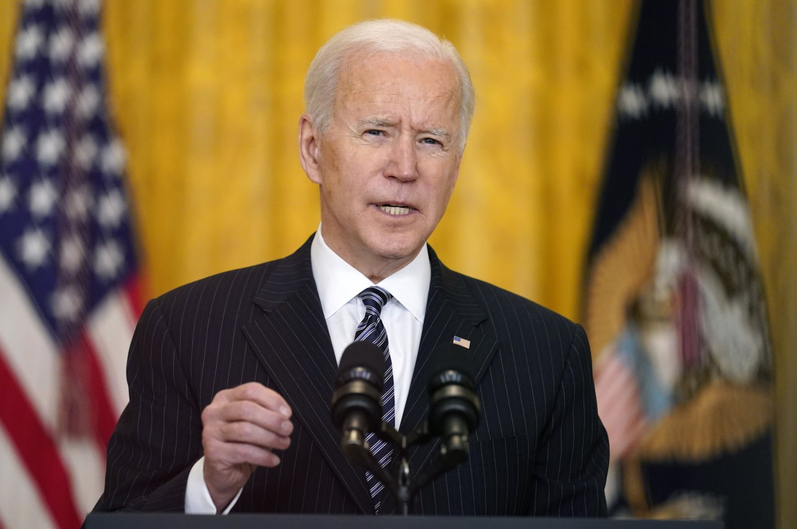 U.S. President Joe Biden speaks about COVID-19 vaccinations, from the East Room of the White House, Washington, D.C., U.S., March 18, 2021. (AP Photo)