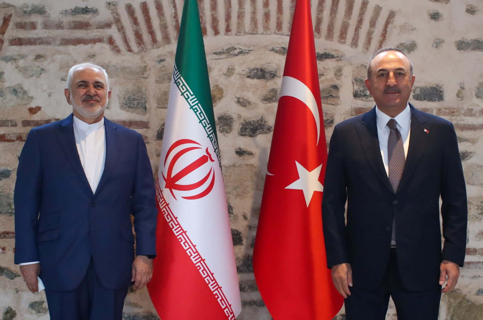Turkish Foreign Minister Mevlüt Çavuşoğlu meets with his Iranian counterpart Javad Zarif in Istanbul, Turkey, March 19, 2021. (AA Photo)